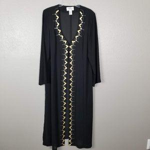 Tally Taylor Sheer Black Embellished Long Duster M